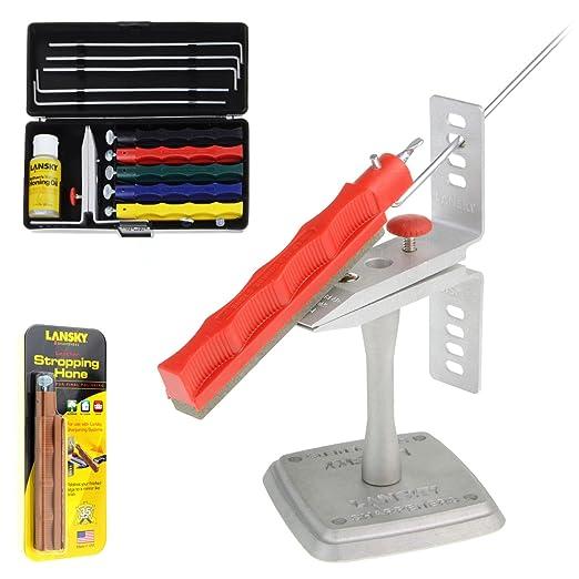 Kit de lijado para cuchillos profesionales Lansky Deluxe, afilador con 5 piedras de afilar y ángulo de ayuda + mesa de montaje + piedra de afilar de ...