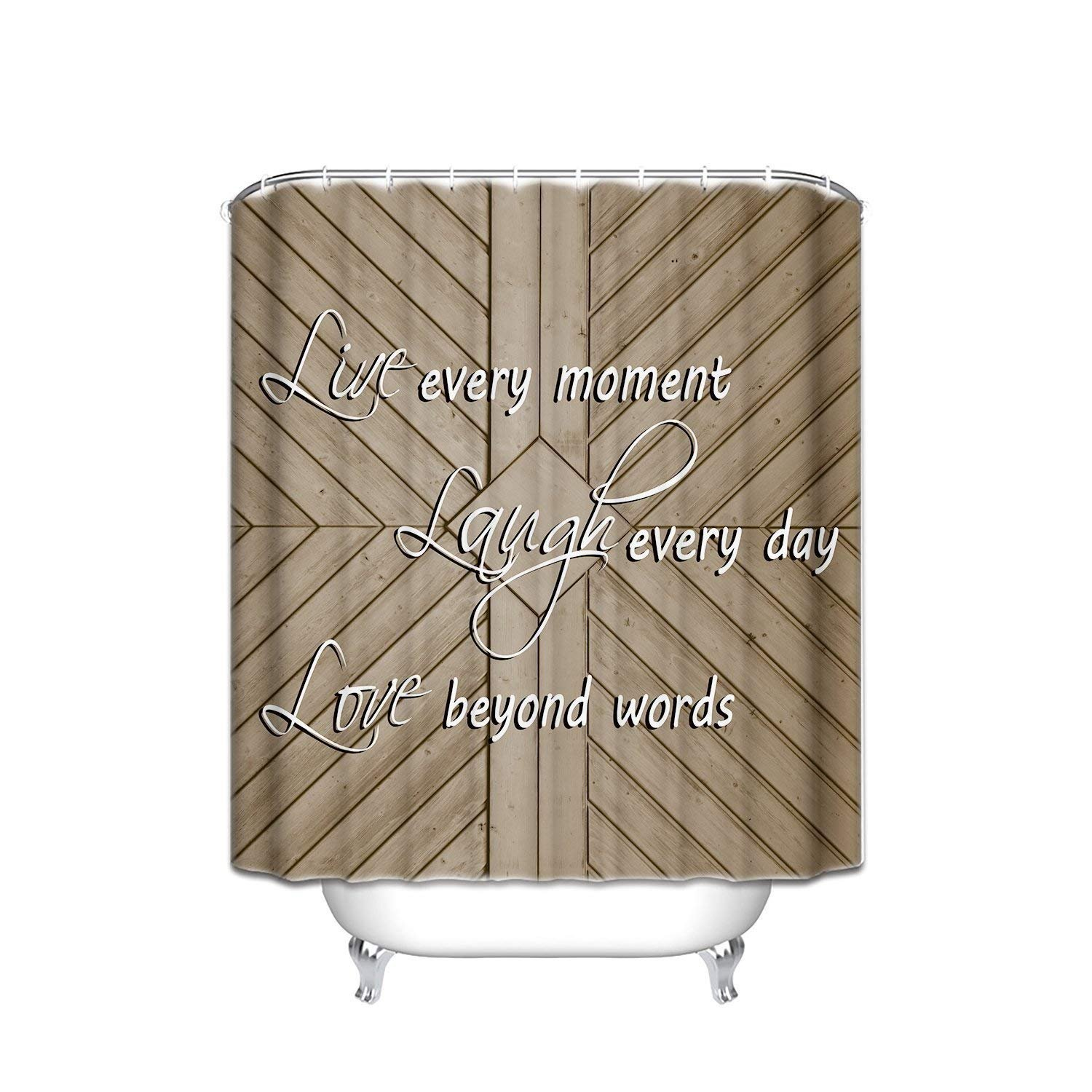 Prime Leader Fabric Shower Curtain Quotes Laugh Every Day Old Barn Wood Background Mildew Resistant Polyester Bathroom Curtains Set with Hooks,Personality Home Decor,36''(w) x 78''(h)