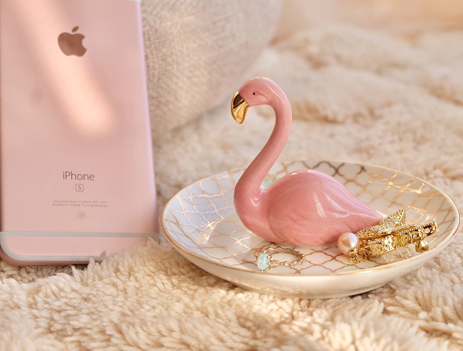 Amazon.com: PUDDING CABIN Flamingos Ring Dish Holder Engagement ...