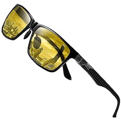 9d2b1085da7 DUCO Classic Carbon Fiber Temples Rectangular Polarized Night-vision Anti-glare  Driving Eyewear Glasses 8206 (Black Yellow)  Amazon.co.uk  Clothing