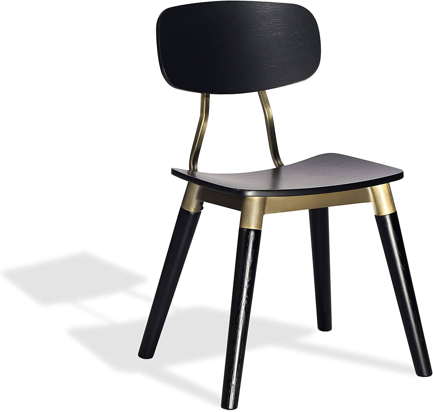 Harmony Modern Edna Wood Dining Chair in a Plywood Oak Black Veneer Seat with Solid Ash Black Finished Legs and Bronze Gold Frame