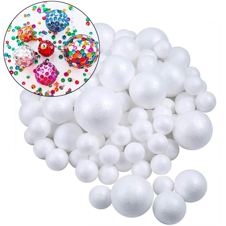 hogar y proyectos escolares Bolas de espuma blancas Bluesees 80 piezas 4 tama/ños Craft bolas de espuma de poliestireno bolas de decoraci/ón arte manualidades bolas para bricolaje arte manualidades