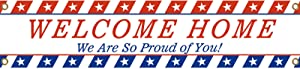 Welcome Home Banner for Deployment Returning Theme Party Decorations, We are So Proud of You Banner, Military Army Homecoming Party Sign (Blue White)