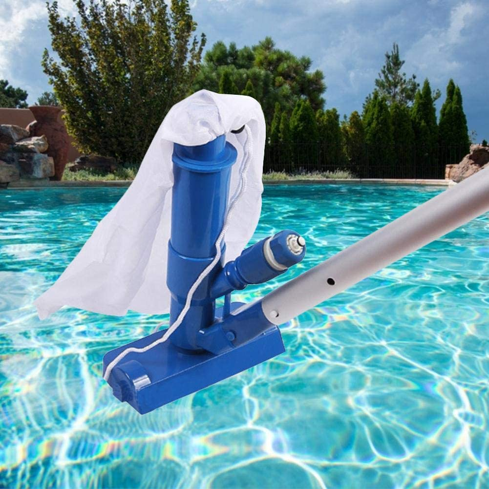 No Garden Hose Included ,for Above Ground Pool,Spas,Ponds /& Fountains BDSONG Portable Pool Vacuum Jet Underwater Cleaner W//Brush,Bag,4 Section Pole of 48