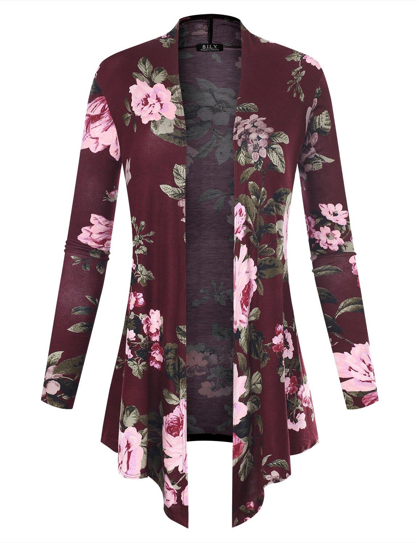 BH B.I.L.Y USA Women's Open Front Drape Hem Lightweight Cardigan Floral Print 61140 Burgundy X-Large