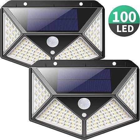 UK IP65 100LED Solar Power Lights 3 Sides Garden Outdoor Wall Lamp Motion Sensor