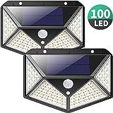 Luz Solar Exterior, iPosible [Versión Actualizada] 100 LED Foco Solar con Sensor de Movimiento Gran Ángulo 270º Impermeable Inalámbrico Lámpara Solar 3 Modos Inteligentes para Jardín, Garaje 2-Paquete