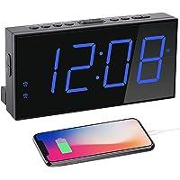 Digital Dual Alarm Clock for Bedrooms, 7''Large LED Display Clock USB Charger,Loud Plug in Simple Basic Clock Battery…