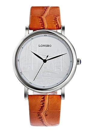 Herren-Quarz beiläufiges Geschäft Uhren, braunes Leder stilvolles ...