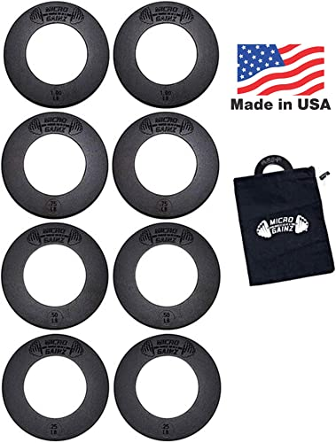 Micro Gainz Calibrated Fractional Weight Plate Set of .25LB-.50LB-.75LB-1LB Plates 8 Plate Set - Designed for Olympic Barbells, Used for Strength Training Micro Loading w Carrying Bag, Made in USA