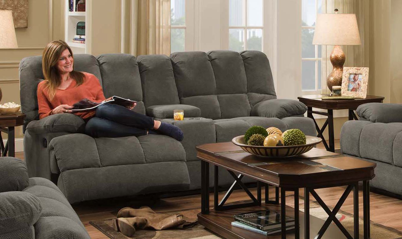 Cambridge 98501DRL-CC Penn Double Reclining Loveseat, Charcoal Living Room  Furniture