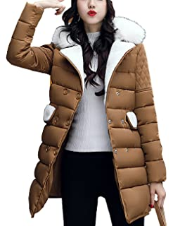 Aishang Womens Fur Collar Coat Double Breasted Diamond-Quilted Puffer Jackets