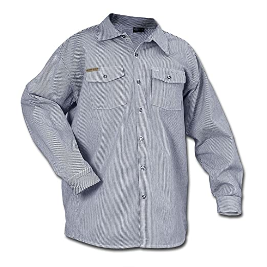 Men's Vintage Workwear – 1920s, 1930s, 1940s, 1950s Prison Blues Long Sleeve Button Hickory Shirt - Regular $34.88 AT vintagedancer.com