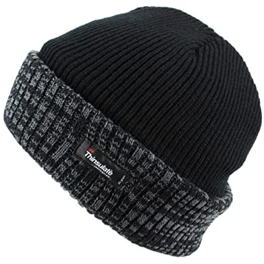 aa2cfdb8a Thinsulate Fleece Lined Ribbed Beanie Hat with a Contrast Mix Turn ...