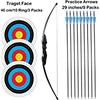 """SinoArt 54"""" Long Bow for Right Handed 30 LBs Draw Weight Archery Bow Shooting LARP Hunting Game with 9 Arrows and 3 Target Faces"""