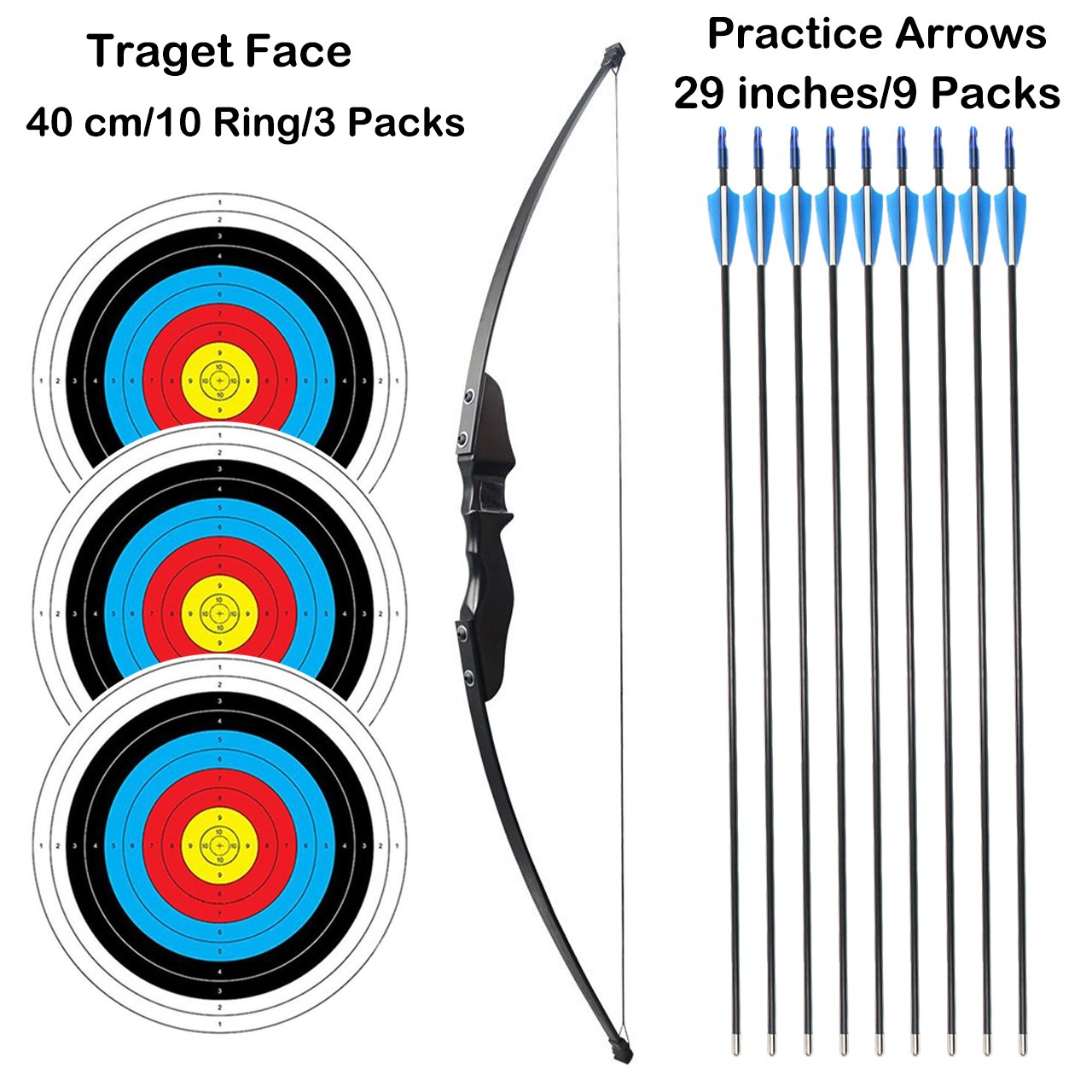 SinoArt 54'' Long Bow for Right Handed 30 LBs Draw Weight Archery Bow Shooting Larp Hunting Game With 9 Arrows and 3 Target Faces