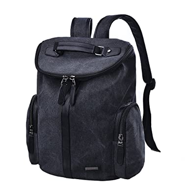 743bad9ae18c Douguyan 15 quot  Inch Laptop Canvas Leather Backpack for Men and Women  School Bag Casual Daypack
