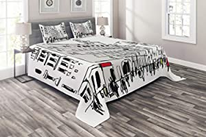 Ambesonne Urban Coverlet, Ink Illustration of Pedestrians on Busy Street with Buildings Modern Cityscape, 3 Piece Decorative Quilted Bedspread Set with 2 Pillow Shams, Queen Size, White Black