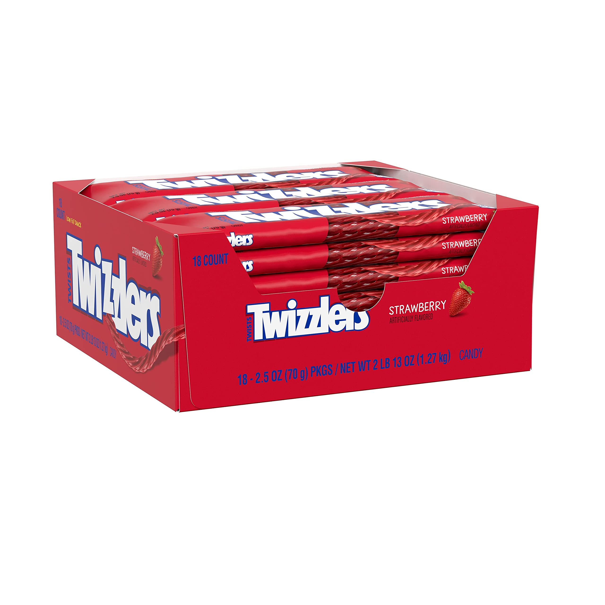 TWIZZLERS Twists Strawberry Flavored Chewy Candy, Bulk, 2.5 oz Bags (18 Count)