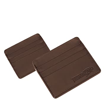 d78f97722d45 LEATHER MENS SMALL ID CREDIT CARD WALLET HOLDER SLIM POCKET CASE BROWN  (Brown)  Amazon.co.uk  Luggage