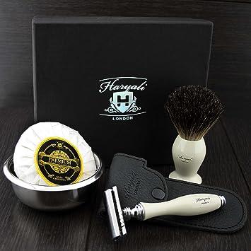 DE Set de afeitadora y brocha con pelo de tejon negro - Set de ...