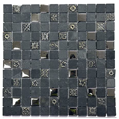 Legion Furniture Grey Engraving Mosaic Stone Inch Square Wall - 1 inch square ceramic tiles