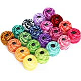 LE PAON100% Cotton Yarn Variegated Crochet Thread Balls 20 Balls Popular Rainbow Colors of Size 8 47.5 Yards Balls 950 Yards 100% Long Staple Cotton Mercerized Cotton