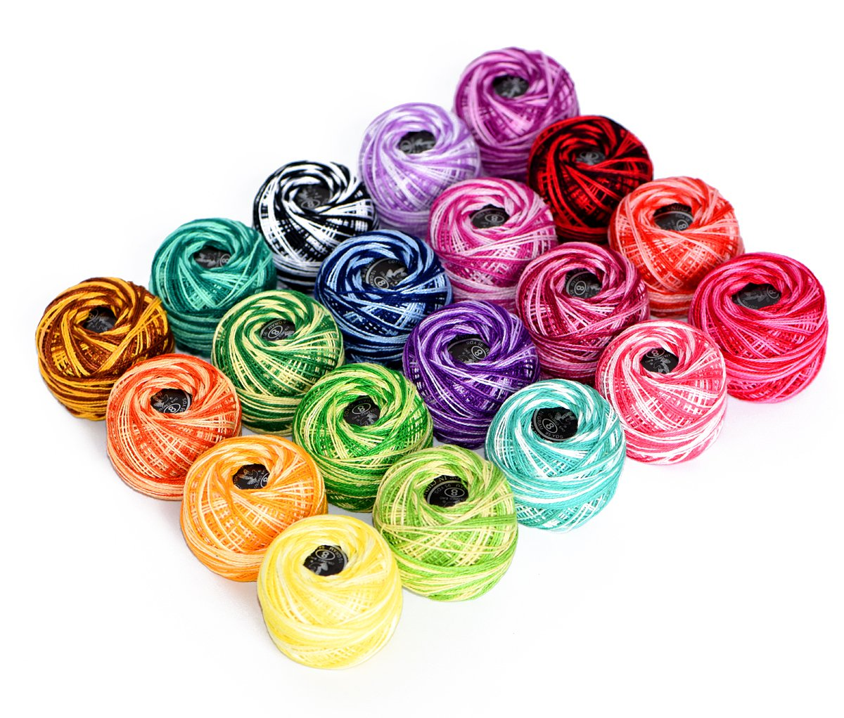 LE PAON100% Cotton Yarn Variegated Crochet Thread Balls 20 Balls Popular Rainbow Colors of Size 8 47.5 Yards Balls 950 Yards 100% Long Staple Cotton Mercerized Cotton Wuxi Chaoqiang Adornment Co. Ltd. 4336923411