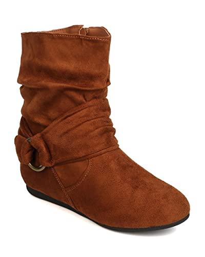 GK35 Women Faux Suede Round Toe Harness Slouchy Bootie