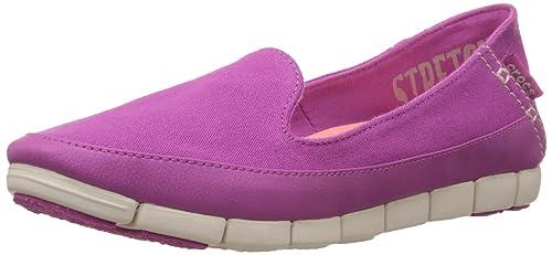 eb2b9efa43 crocs Women's Stretchsoleskimmerw Flat, Vibrant Violet/Stucco, ...