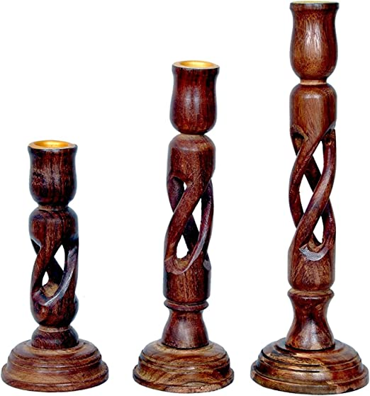 Vishal India Craft Set Of 3 Handcraft Candle Stand , Handmade Wooden Candle Holder, Best Gift As Candle Organizers Candlesticks at amazon