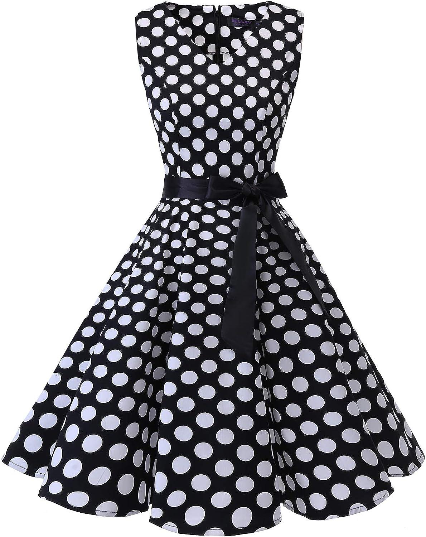 TALLA 3XL. Bridesmay Vestido de Cóctel Fiesta Mujer Verano Años 50 Vintage Rockabilly Sin Mangas Pin Up Black White Dot 3XL