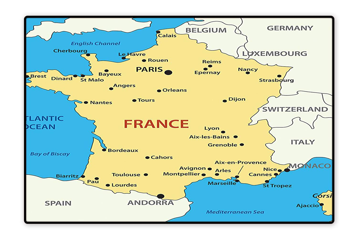 Map Of France 1500.Amazon Com Printed Floor Rugs Map Of France Country French