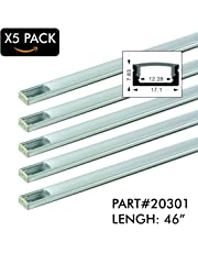 """5 Pack of TECLED 4ft. 46"""" LED Aluminum Profile U-Shape Channel System with Frosted Diffuse Cover, End Caps, Mounting Clips Surface Mount, Fit 2835/5050 LED Strip 17.1mmx7.3mm Clear Anodized Part#20301"""