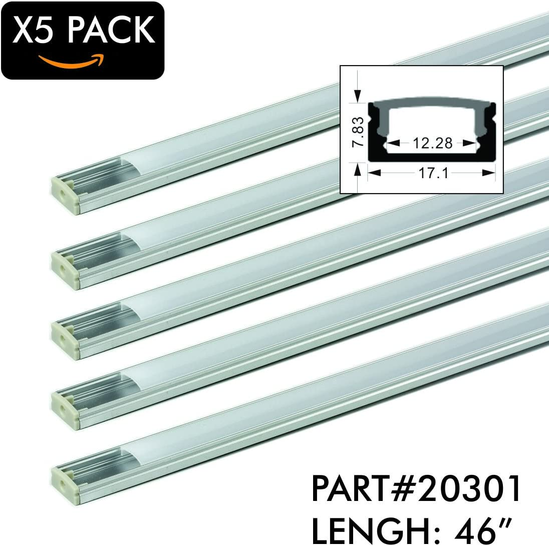 5 Pack of TECLED 4ft. 46 LED Aluminum Profile U-Shape Channel System with Frosted Diffuse Cover, End Caps, Mounting Clips Surface Mount, Fit 2835 5050 LED Strip 17.1mmx7.3mm Clear Anodized Part 20301