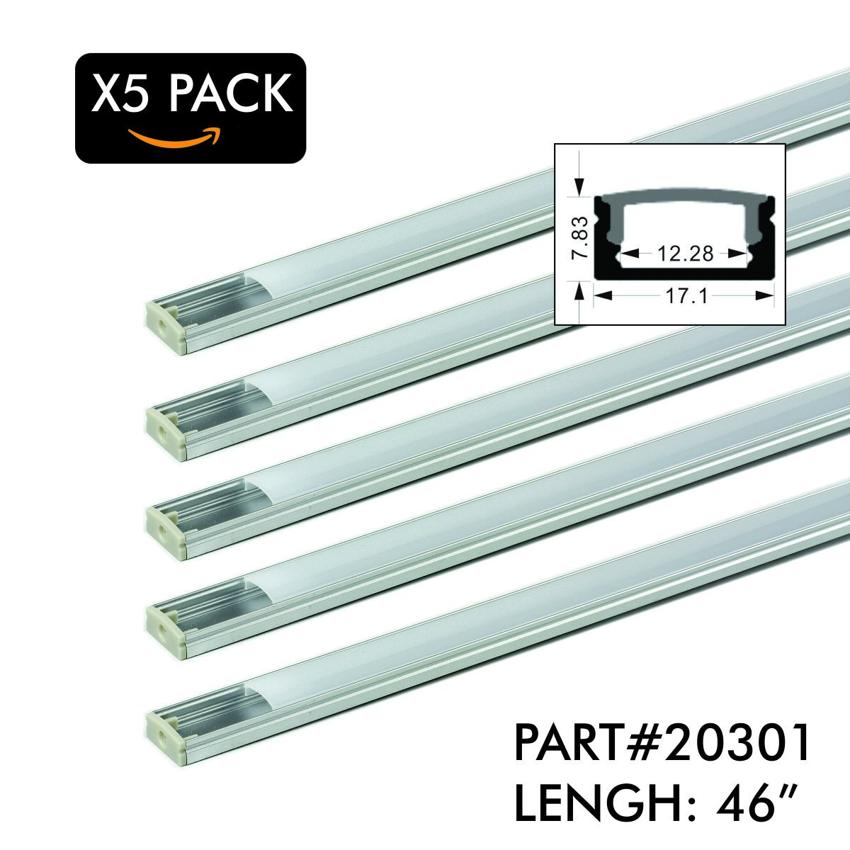 5 Pack of TECLED 4ft. 46'' LED Aluminum Profile U-Shape Channel System with Frosted Diffuse Cover, End Caps, Mounting Clips Surface Mount, Fit 2835/5050 LED Strip 17.1mmx7.3mm Clear Anodized Part#20301