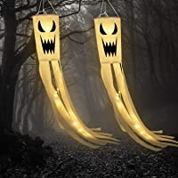 Frienda 2 Pack Halloween Ghost Windsock Flag with Warm White LED Lights Halloween Outdoor Hanging Decor for Yard Patio…