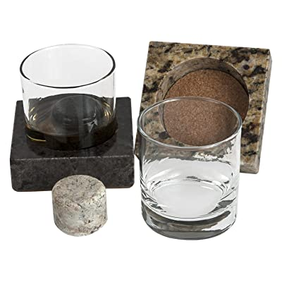 "Cool Coaster 6 Piece Set- Includes: Two 4' Square Granite Coasters, Two 10oz Glass Tumblers & 2 ""On the Rocks"" Solid Granite Whisky Stones by Sea Stones"