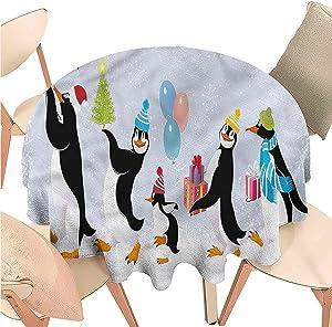 Linhomedecor Circular Table Cloths Christmas,Cute Penguins in Caps,Indoor Outdoor Spillproof Tablecloth Table Cover for Spring Summer Patio Garden Tabletop Decor Diameter 54 inch