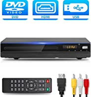 DVD Player with HDMI AV Output, DVD Player for TV, Contain HD with AV Cable/ Remote Control/ USB Input, All Region Support H