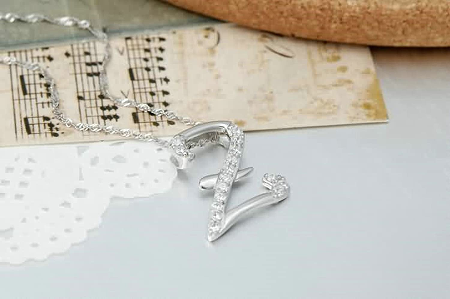 AMDXD Jewelry Women Silver Plated Pendant Necklaces Letter Z Cubic Zirconia Silver 2X1.7CM