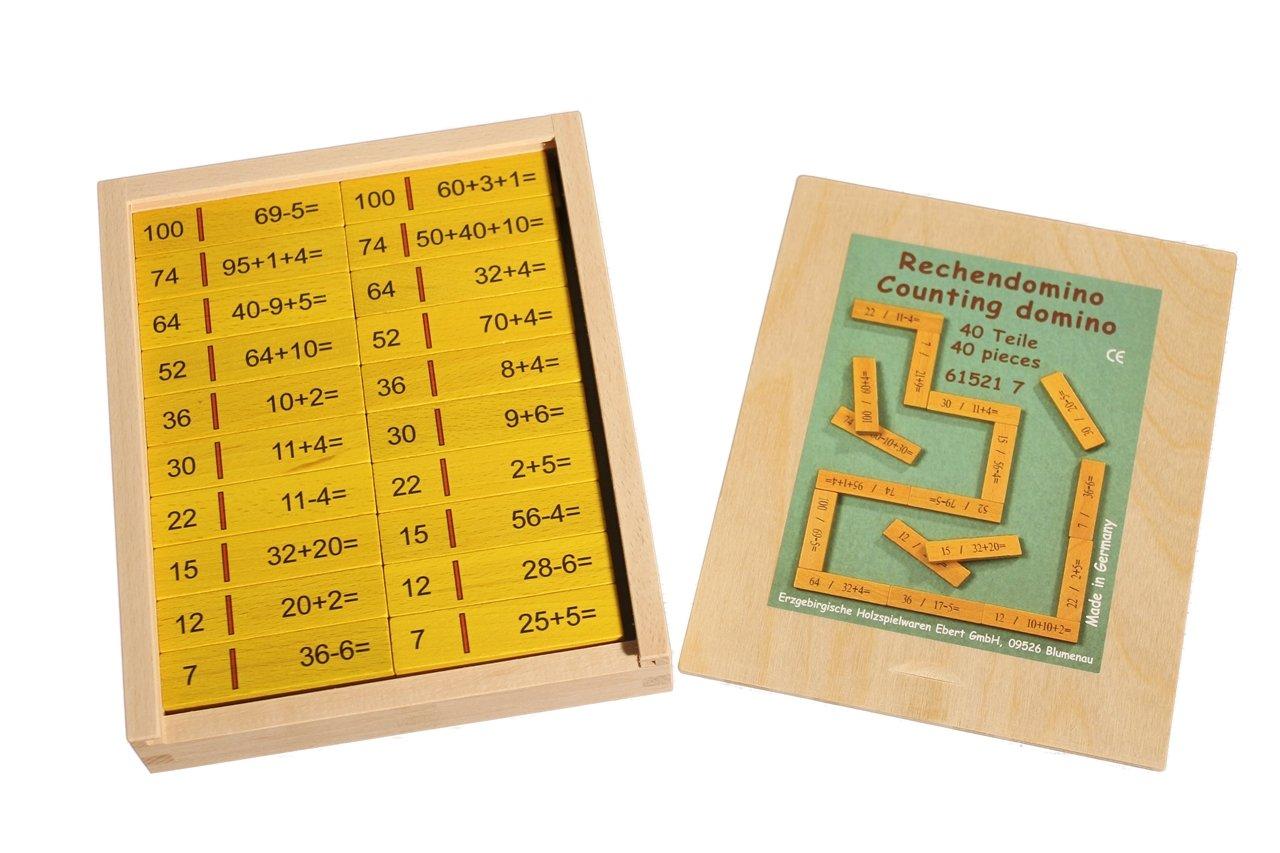 Rechendomino I 40 Teile , 16 x 20 x 3 cm NEU Rechenspiel Mathe lernen Denkspiel Erzgebirgische Holzspielwaren Ebert GmbH