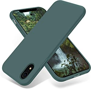 OTOFLY iPhone XR Case,Ultra Slim Fit iPhone Case Liquid Silicone Gel Cover with Full Body Protection Anti-Scratch Shockproof Case Compatible with iPhone XR 6.1 inch, [Upgraded Version] (Pine Green)