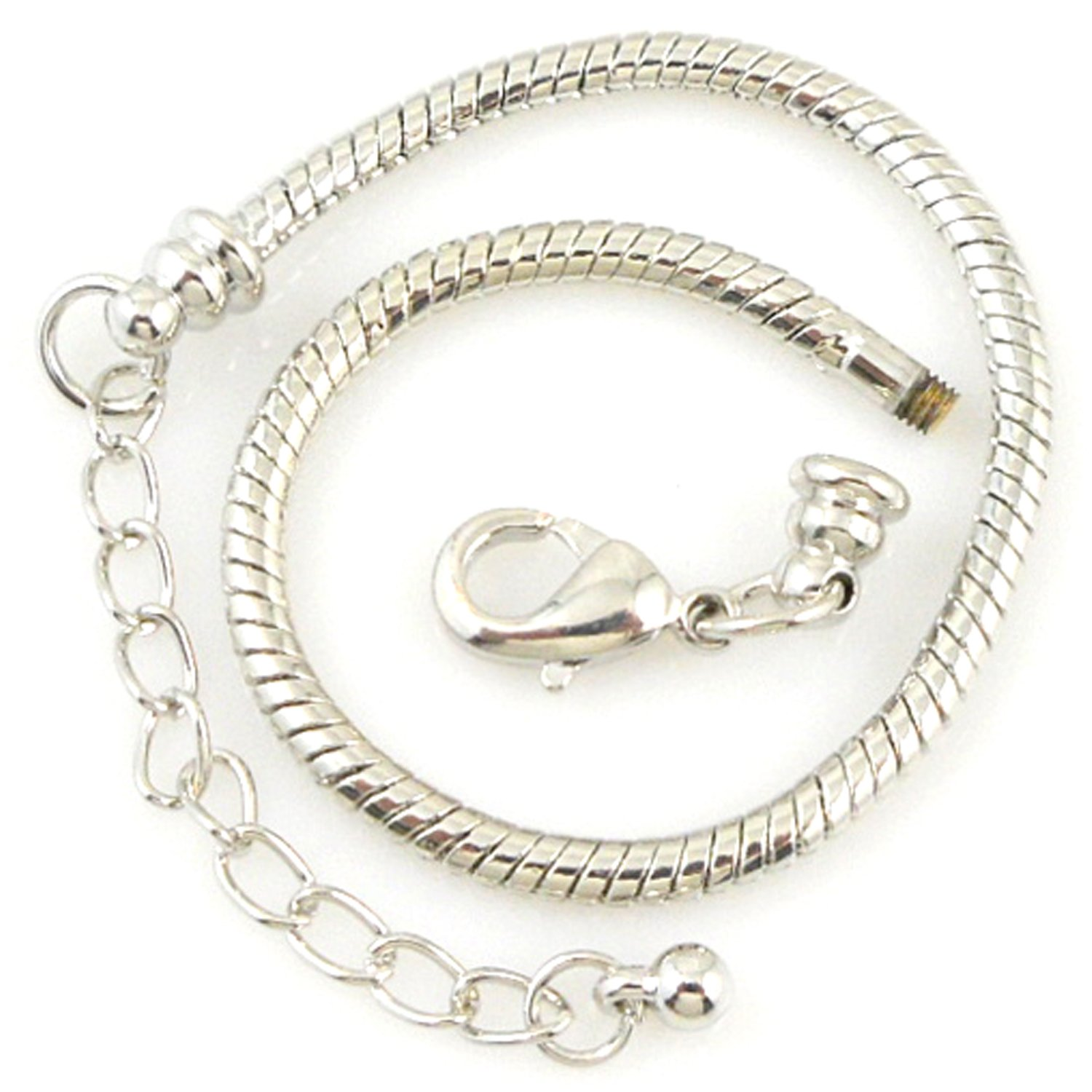 RUBYCA 5pcs White Silver Plated Lobster European Style Snake Chain Bracelet fit Charm Beads 7.5''
