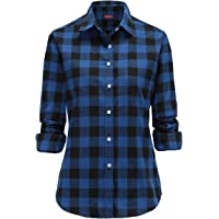 JEETOO Women Flannel Shirt Long Sleeve Buffalo Check Shirts