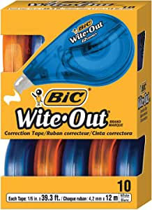 BIC Wite Out Correction Tape - Pack of 10 Correction Tapes