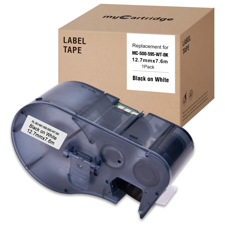 MYCARTRIDGR MC-500-595-WT-BK Compatible Brady Cable Label Vinyl Polyester Nylon Industrial Equipment 19.1mm 6.4m Labeling Tape
