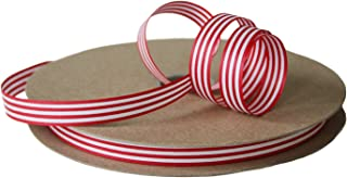"""product image for Cream City Ribbon Red & White Stripe Cotton Curling/Craft Ribbon, 1/2"""" x 100 Yards (300 Feet)"""