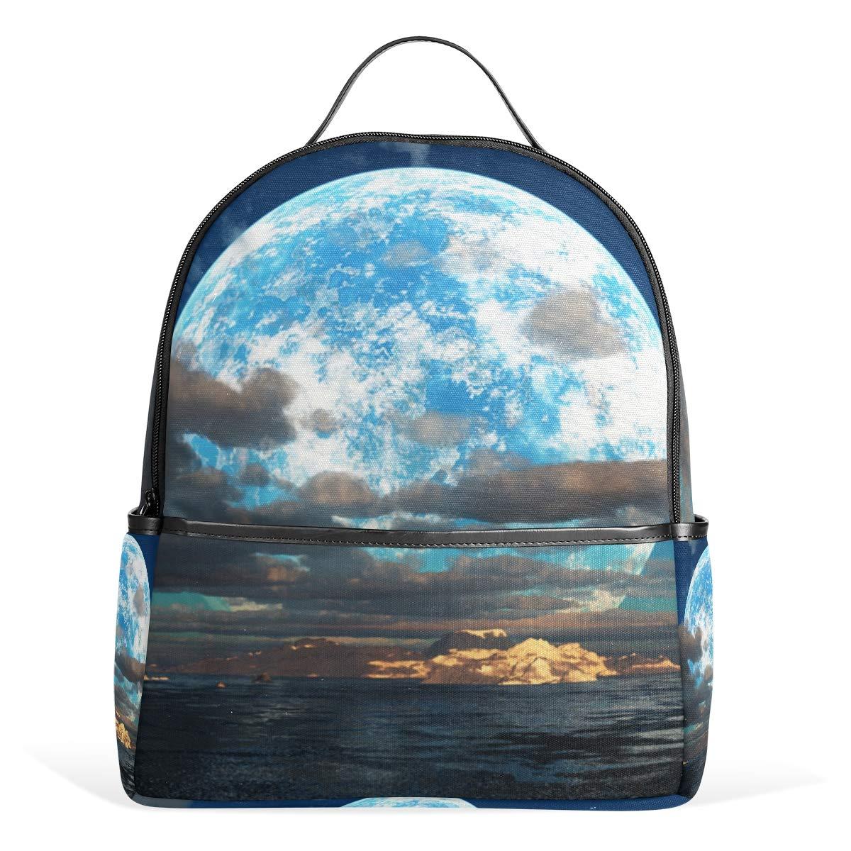 スクールバックパック アーティスティックムーン旅行バッグ ティーンエイジャーボーイズガールズ用   B07G9WDJ33