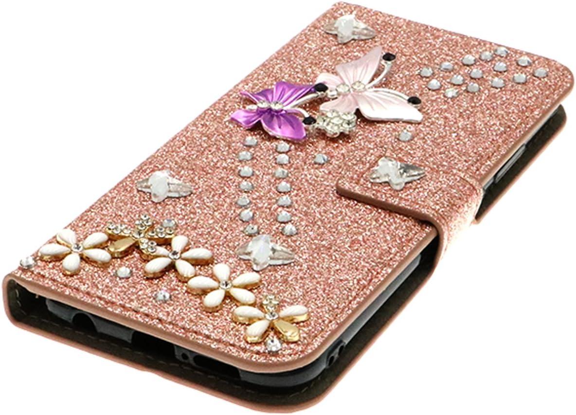 QC-EMART Cover per Samsung Galaxy J4 2018 Custodia in Pelle Rosa Glitter Paillette Luccichio Farfalla Portafoglio Porta Carta Guscio Caso Case Protettiva Custodie Cellulari per Ragazza